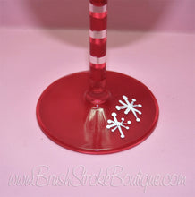 Hand Painted Wine Glass - Santa Face - Original Designs by Cathy Kraemer