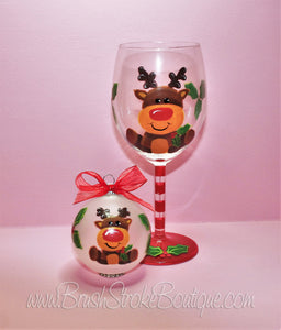 Hand Painted Wine Glass Ornament Set - Cute Lil Reindeer - Original Designs by Cathy Kraemer