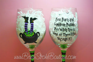 Hand Painted Wine Glass - Cauldron Trouble Purple - Original Designs by Cathy Kraemer