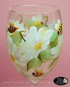 Hand Painted Wine Glass - Daisies and Bees - Original Designs by Cathy Kraemer