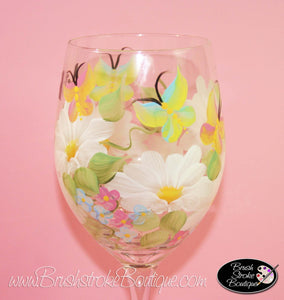 Hand Painted Wine Glass - Butterflies and Daisies - Original Designs by Cathy Kraemer
