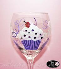 Hand Painted Wine Glass - Blinged Out Cupcake - Original Designs by Cathy Kraemer