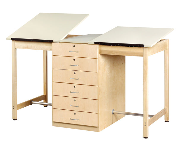 2 Station Drafting Table - 6 Drawer