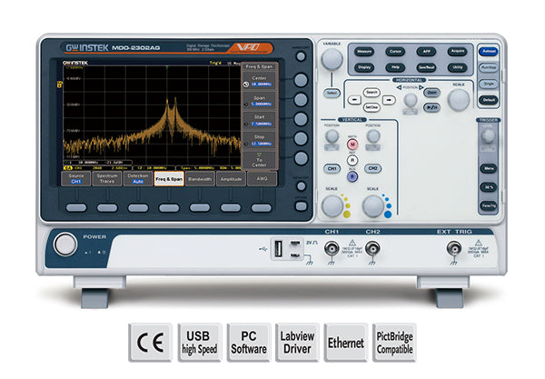 300 MHz, 2-channel, DSO, Spectrum analyzer, dual channel 25MHz AWG