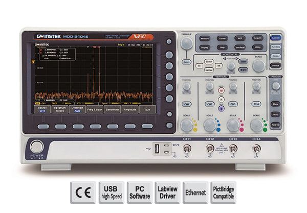 200MHz, 4-channel, DSO, Spectrum analyzer, dual channel 25MHz AWG, 5,000 count DMM and power supply