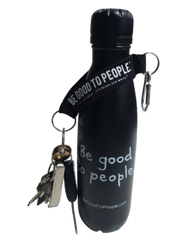 Black Neoprene Key Ring or Holder with Carabiner Clip on one end and key ring. Stap parts and hand can slip through so it can be worn on wrist. Shown with keys with strap slipped over a Signature Thermal Stainless Steel Water Bottle