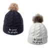 Be Good to People Signature Faux Pom Hat