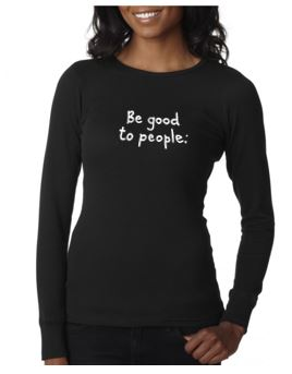Signature Embroidered Thermal in Black Unisex Sizing Shown on a Woman