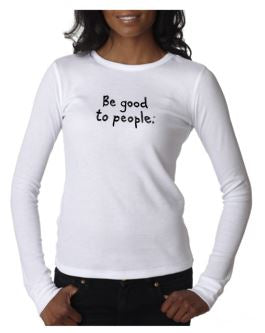 Signature Embroidered Thermal in White Unisex Sizing Shown on a Woman