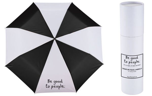 Signature Folding Umbrella Black and White Panels White Gift Tube