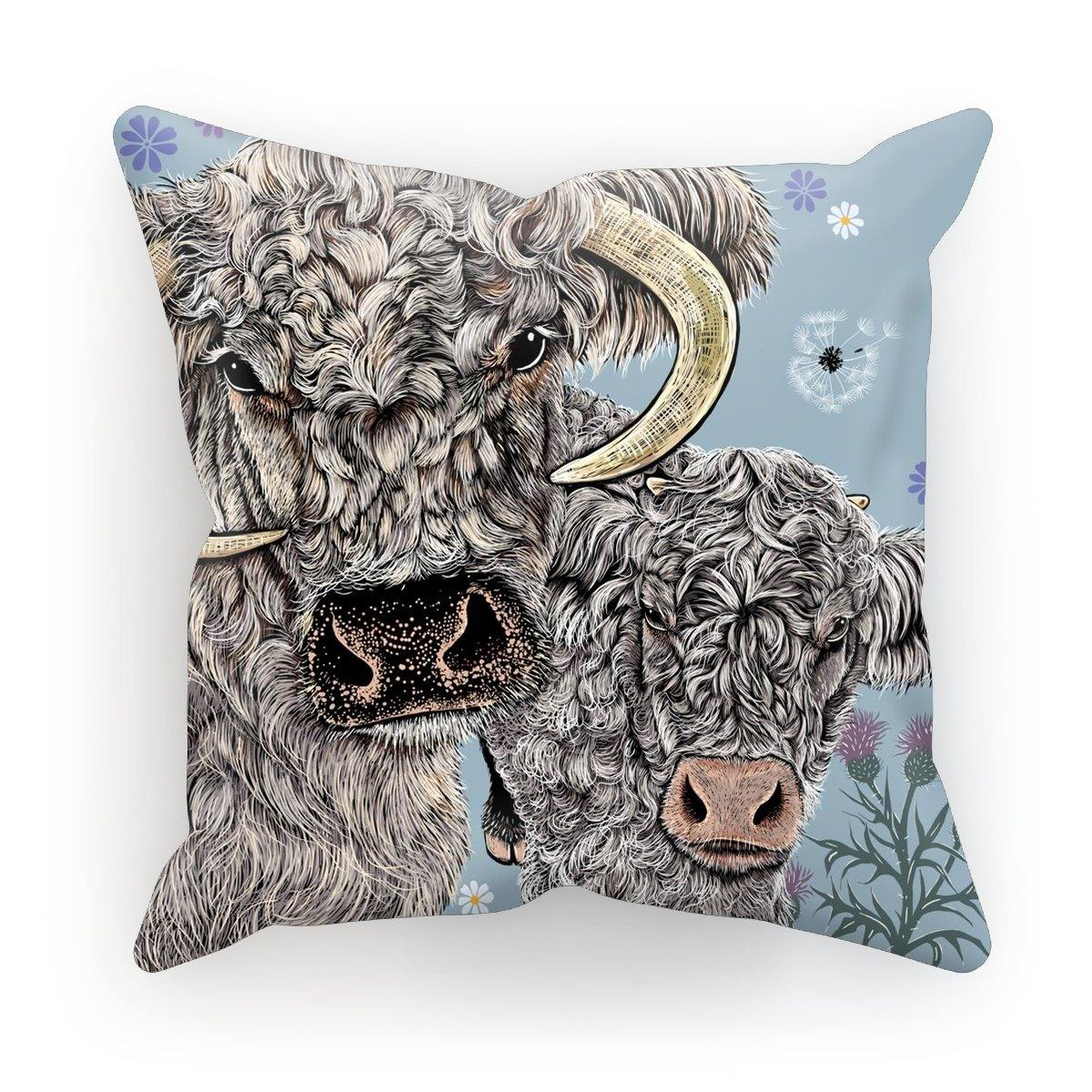 Longhorn Cow Cushion; Blue; Fox and Boo