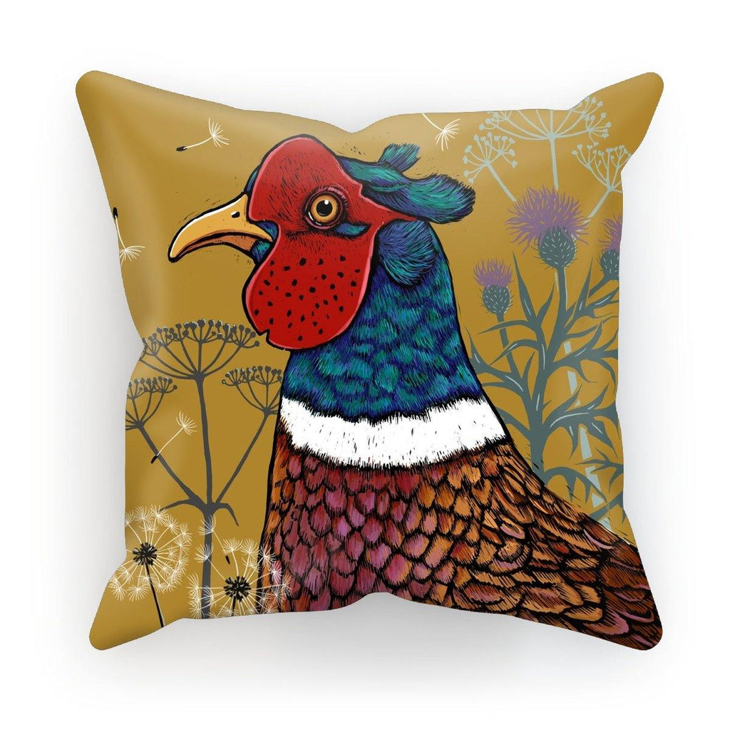 Magnificent Pheasant Cushion - Rich Mustard