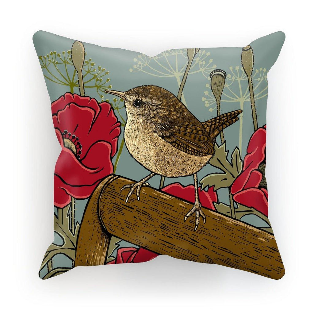 Poppies & Wren Cushion by Fox & Boo