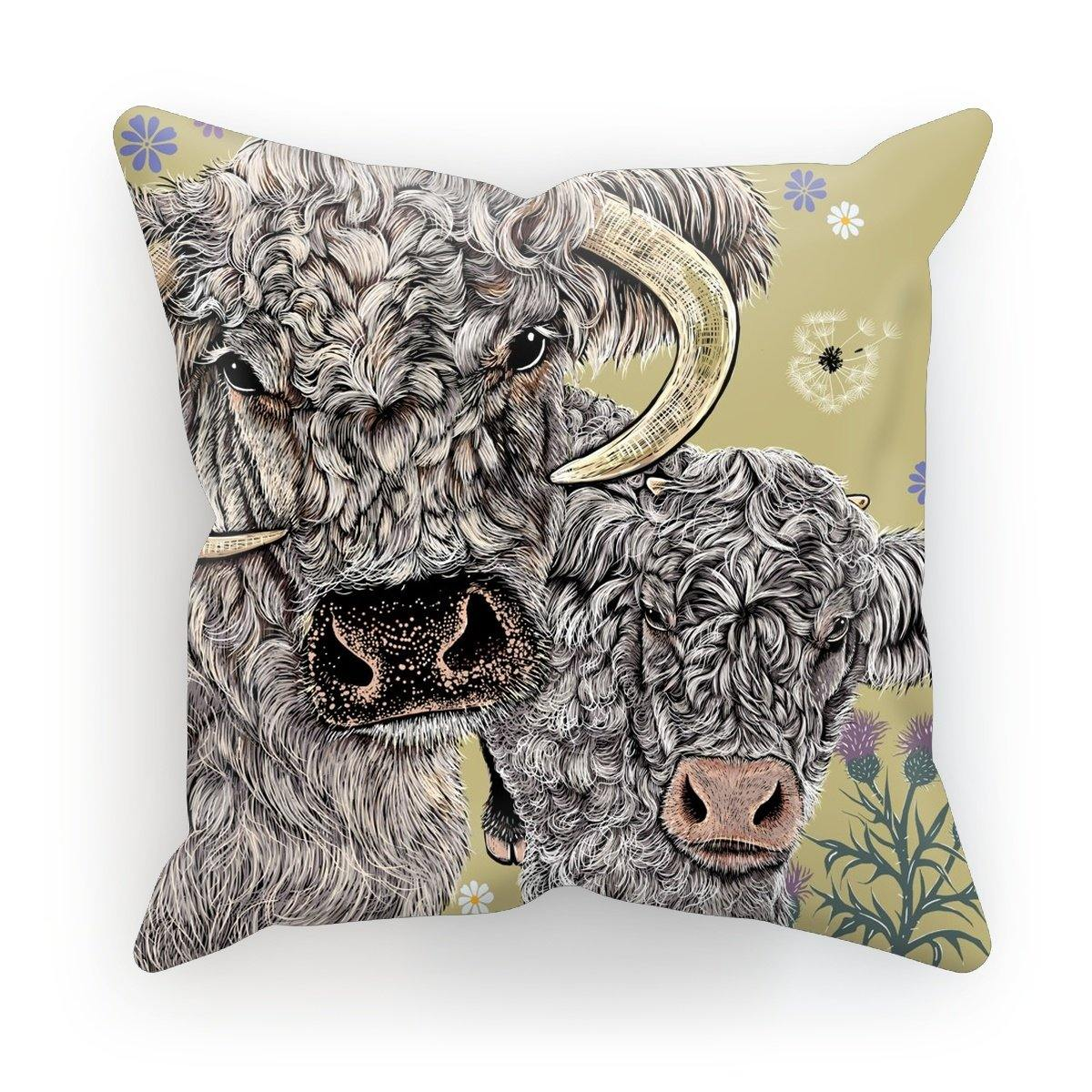 Longhorn Cow Cushion; Olive; Fox and Boo