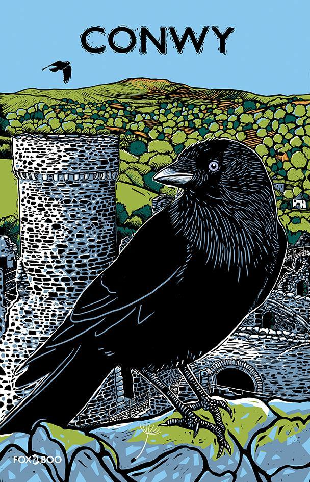 Conwy Tea Towel; Jackdaw; Jac y Do; Bird by Fox & Boo