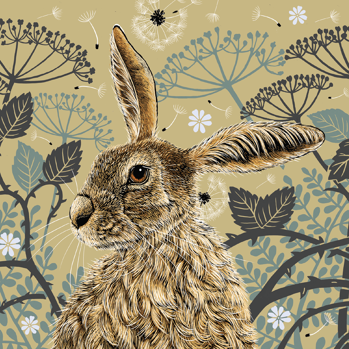 Decorative Hare Greeting Card - Olive