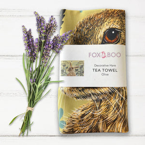 Decorative Hare Tea Towel - Olive