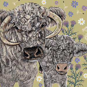 Lichfield Longhorns Greeting Card - Olive