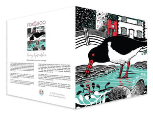 Oystercatcher Greeting Card, Conwy, Smallest House, Fox and Boo