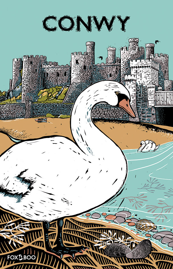 Swans at Conwy Castle Tea Towel