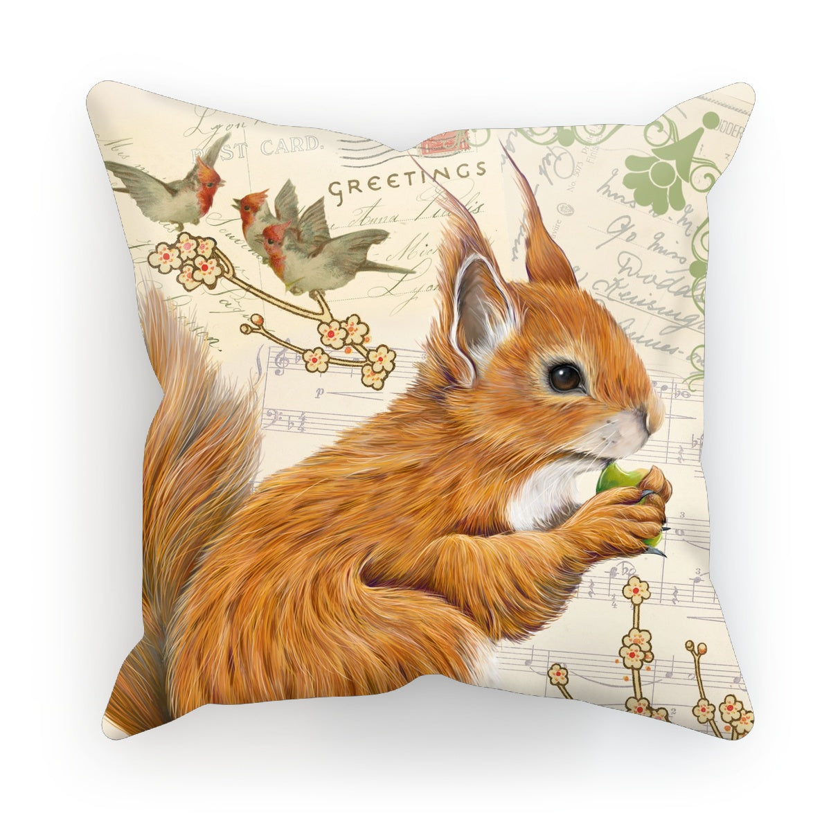 Vintage Style Squirrel Cushion by Fox and Boo
