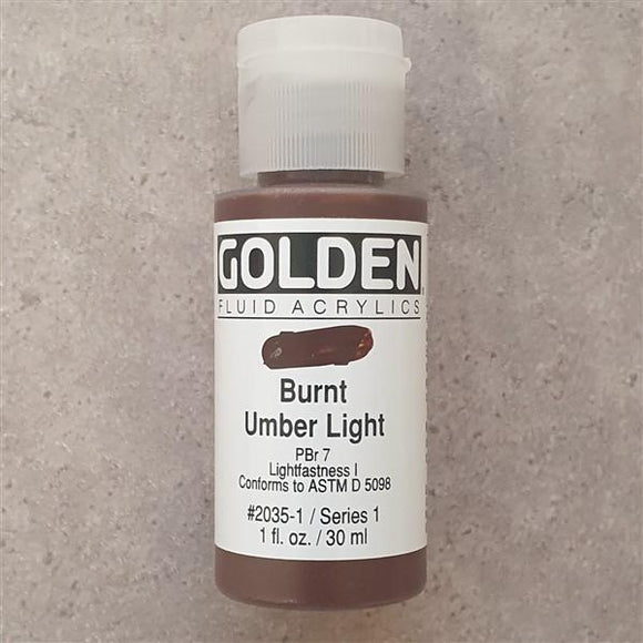 Burnt Umber Light Fluid Acrylic-Golden-Freya Jones Art and Craft