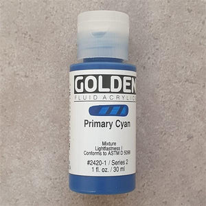 Primary Cyan Fluid Acrylic-Golden-Freya Jones Art and Craft