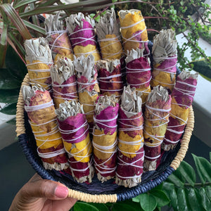 Rose Wrapped White Sage Smudge Stick - Chakra Zulu