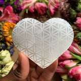 Flower of Life Engraved Selenite Heart - Chakra Zulu