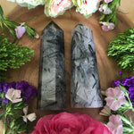 Tourmalated Quartz Point (Black Tourmaline in Quartz) - Chakra Zulu