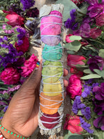 "9"" Rainbow Rose Wrapped White Sage Smudge Stick - Chakra Zulu"