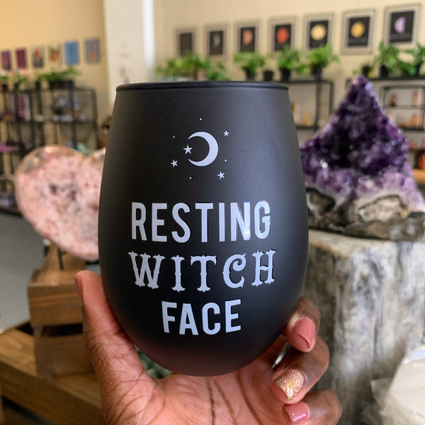 Resting Face Stemless Wine Glass - Chakra Zulu
