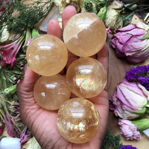 Honey Calcite Sphere - Chakra Zulu