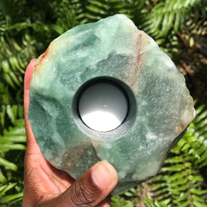 Green Aventurine Candle Holder - Chakra Zulu