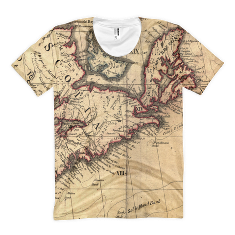 Full-print Uni-sex Tee - Nova Scotia map