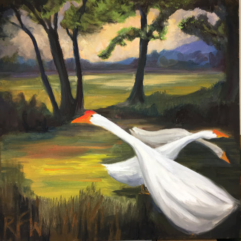 """Three Geese"" original oil on gallery wrapped canvas 24"" x  24"" x 1.5"""