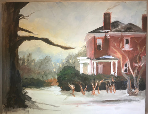 "Hillcrest in Winter - Original on canvas  by Richard F. Williams-11"" x 14"""