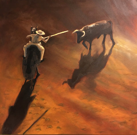 Picador and the bull original oil painting by Richard F Williams
