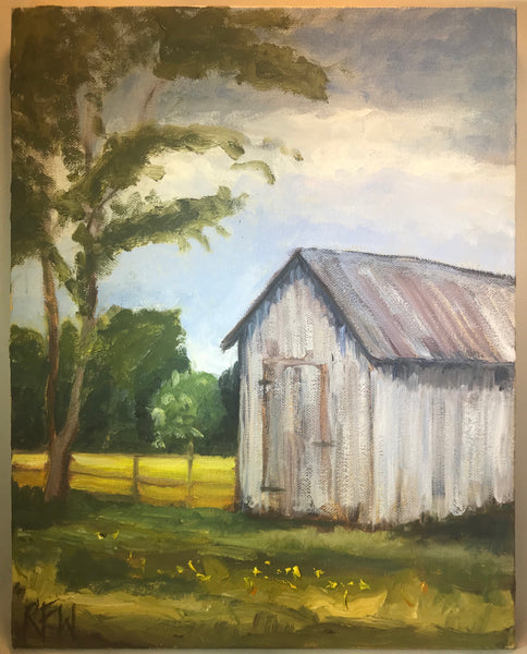 "The Corn Crib - Original Oil on canvas  by Richard F. Williams-11"" x 14"""