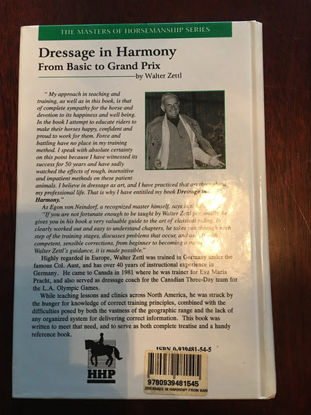 Dressage in Harmony: From Basic to Grand Prix (Masters of Horsemanship Series) by Walter Zettl (1998-08-01)