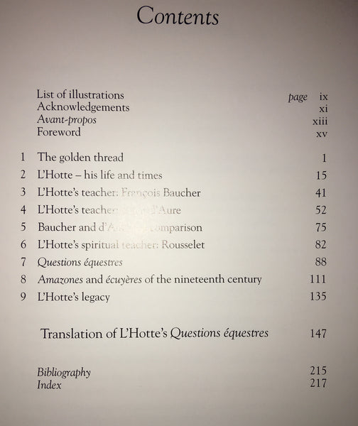"Alexis-Francois L'Hotte: The Quest for Lightness in Equitation Hardcover – contains full translation of L'Hotte's ""Questions Equestre"""