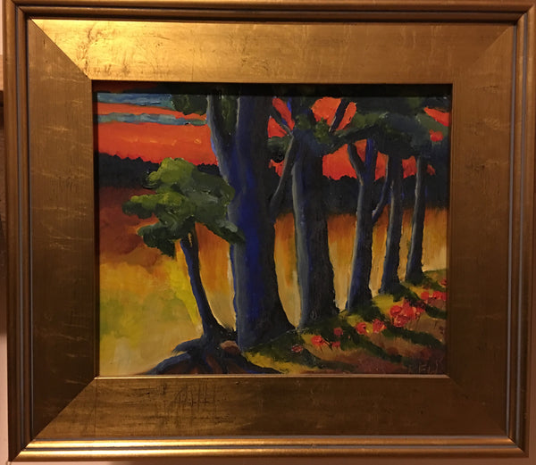 Zsolnay Landscape #1 original oil on board by Richard F. Williams