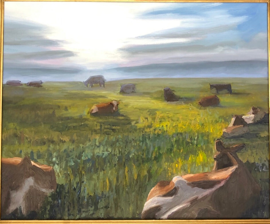 Swiss Cows - oil on board by Richard F. Williams