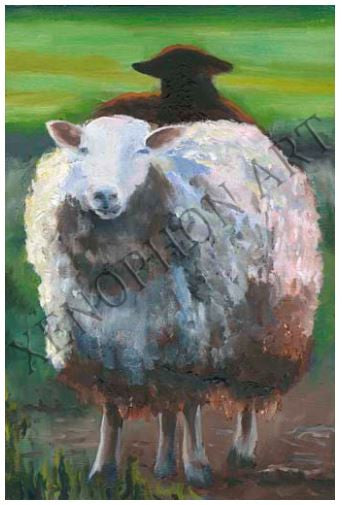 """Two Sheep"" by Richard F. Williams Art Giclée on Canvas"