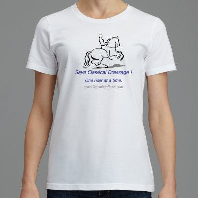 "Women's fitted soft Xenophon Press Logo ""SAVE CLASSICAL DRESSAGE"" T-shirt"