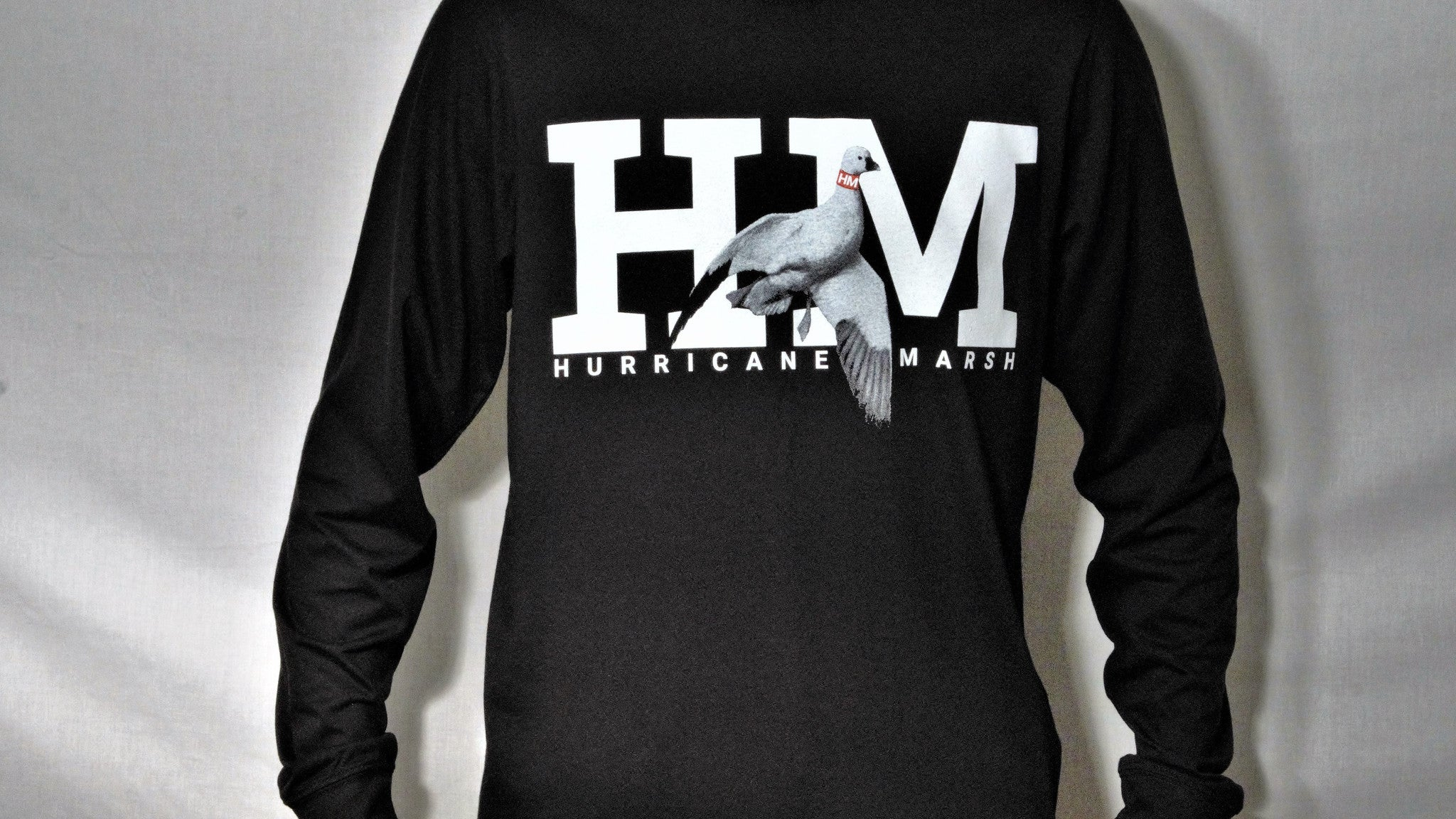 Hurricane Marsh Logo Snow Goose Black Long Sleeve T-Shirt