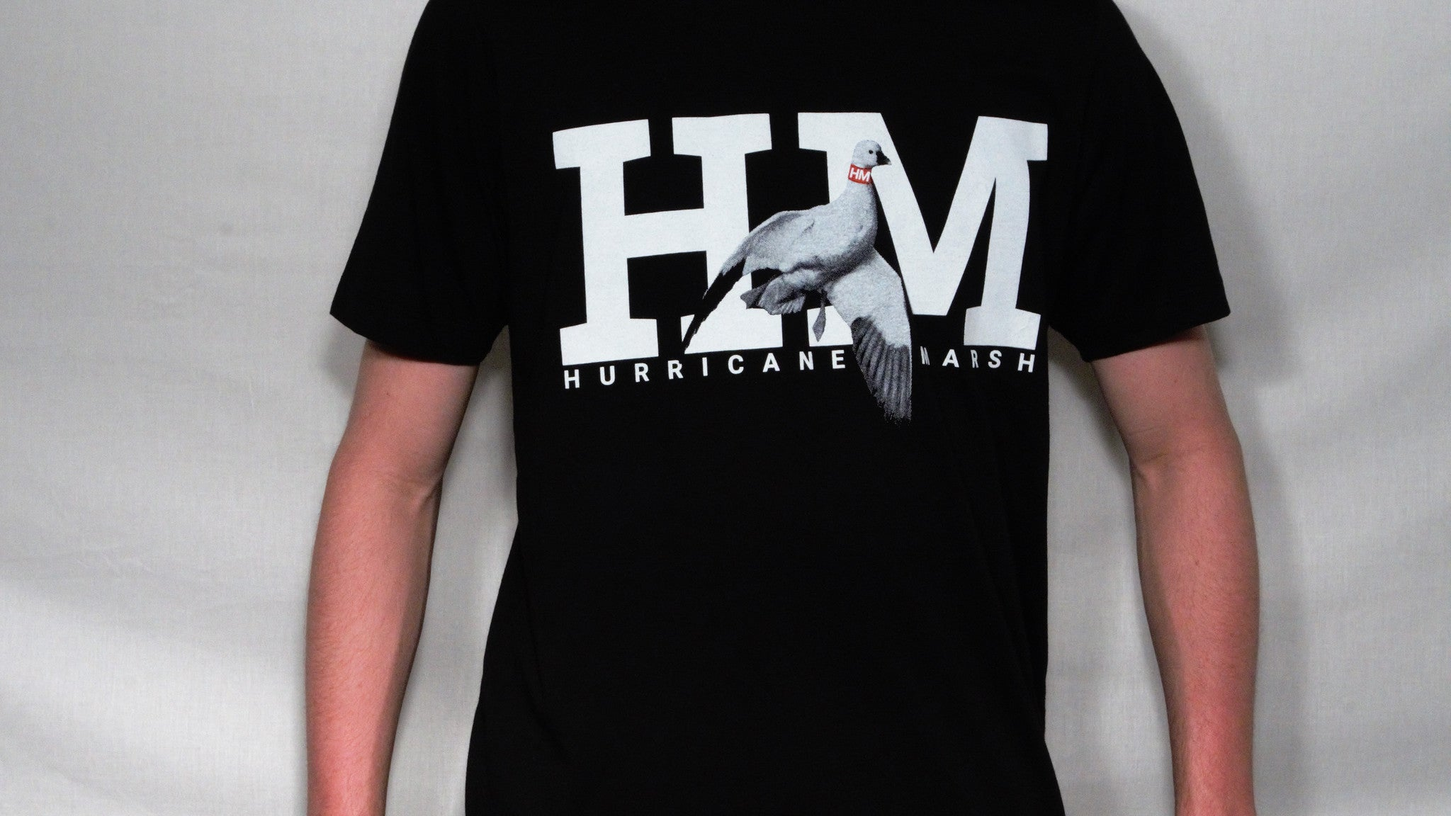 Hurricane Marsh Logo Snow Goose T-Shirt Black