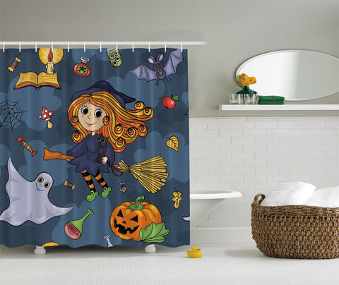 Little Lively Witch On Hallows Night Fabric Shower Curtain