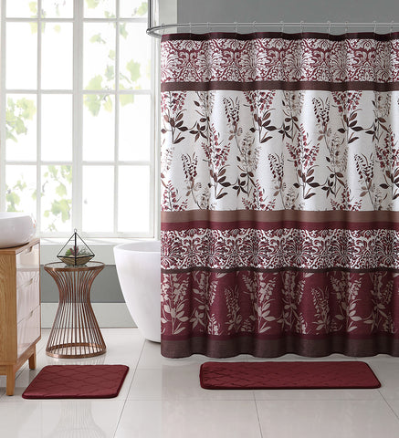 Ashley Burgundy Red Canvas Fabric Shower Curtain Contemporary Floral Bordered Damask Design