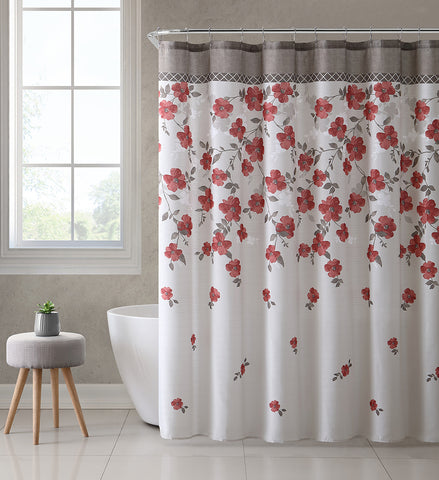 Lani Red Coral Taupe White Canvas Fabric Shower Curtain Contemporary Floral Bordered Design